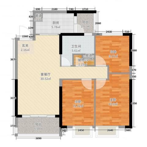 恒大绿洲3室2厅1卫1厨108.00㎡户型图