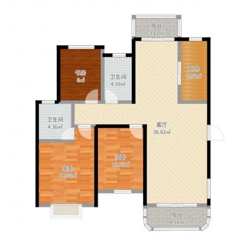 碧水戎城3室1厅2卫1厨118.00㎡户型图