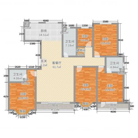 城市维也纳5室2厅3卫0厨198.00㎡户型图