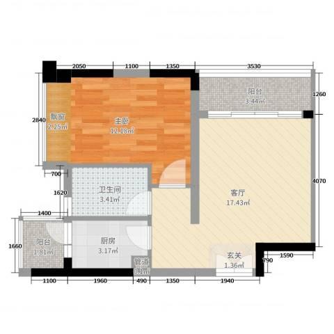 深业泰然观澜玫瑰轩1室1厅1卫1厨52.00㎡户型图