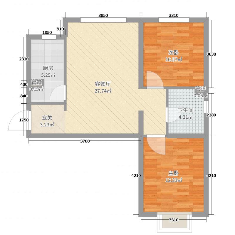 天庆国际新城96.00㎡B区A1-1户型2室2厅1卫1厨