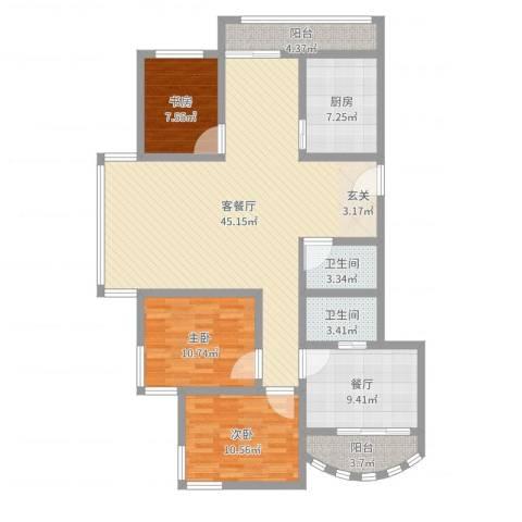 鼓楼人家3室3厅2卫1厨105.49㎡户型图