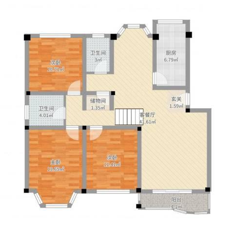 景华世纪园3室2厅2卫1厨119.00㎡户型图