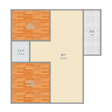延吉东路1312室1厅1卫1厨86.00㎡户型图