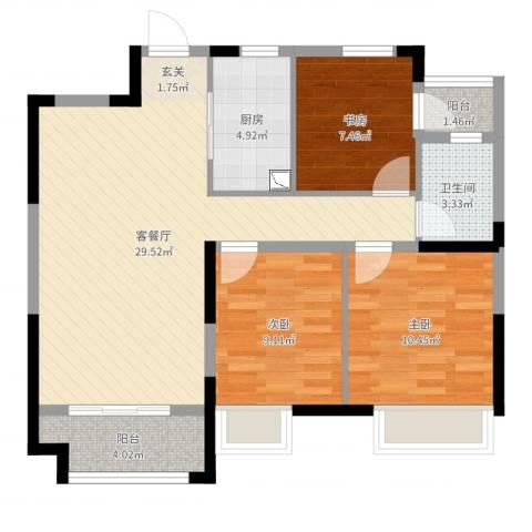 海亮天城3室2厅1卫1厨88.00㎡户型图