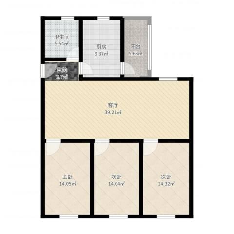 矿冶研究院3室1厅1卫1厨128.00㎡户型图