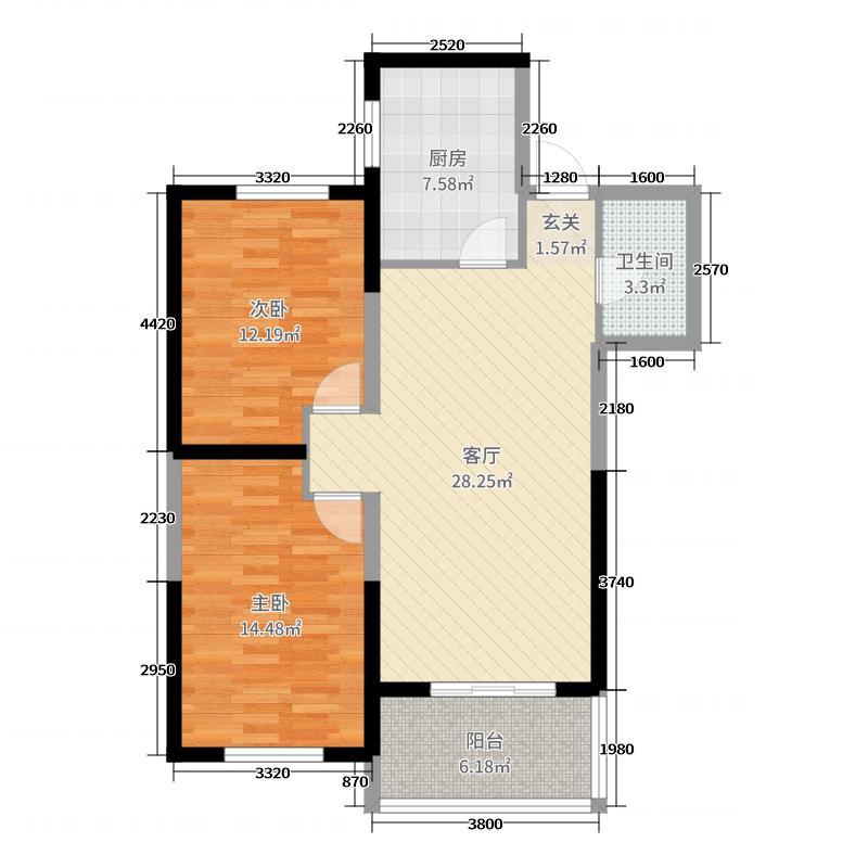 中大帝景91.70㎡4B91708849户型2室2厅1卫1厨