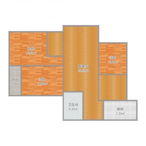 建投・御河新城0817033室2厅1卫1厨132.00㎡户型图