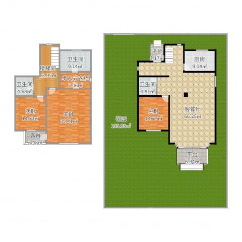 团泊湖庭院3室2厅3卫1厨492.00㎡户型图