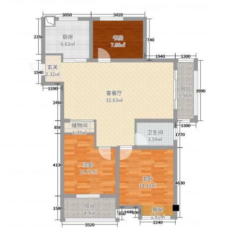 国联乐园3室2厅1卫1厨108.00㎡户型图