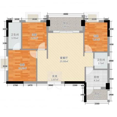 景新豪苑3室2厅2卫1厨91.00㎡户型图