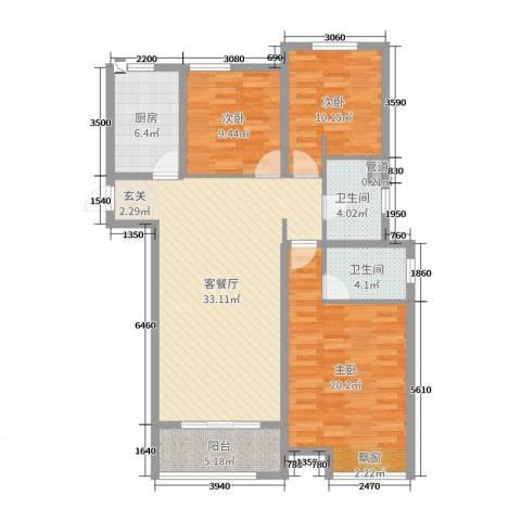 中海锦��湾3室2厅2卫1厨116.00㎡户型图