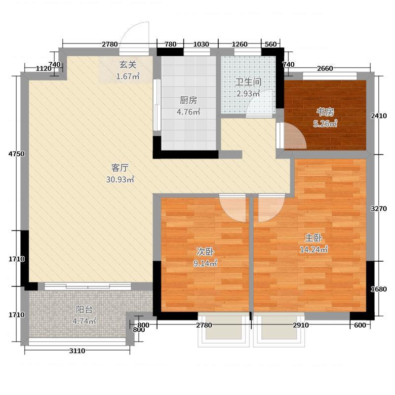 耘林生命公寓90.00㎡A户型3室3厅1卫1厨