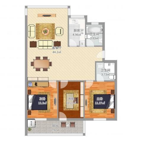 华侨城3室2厅2卫1厨124.00㎡户型图