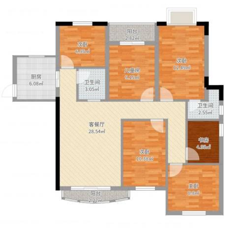 未来海岸蓝月湾6室2厅2卫1厨123.00㎡户型图
