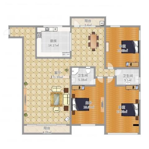 御晖苑1室1厅2卫1厨207.00㎡户型图