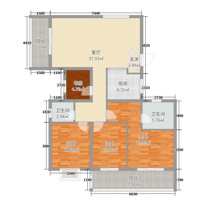 绿地中央广场142.00㎡5期高层标准层A户型4室4厅2卫1厨