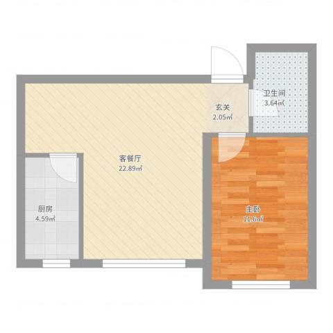 新发北湖花园1室2厅1卫1厨53.00㎡户型图