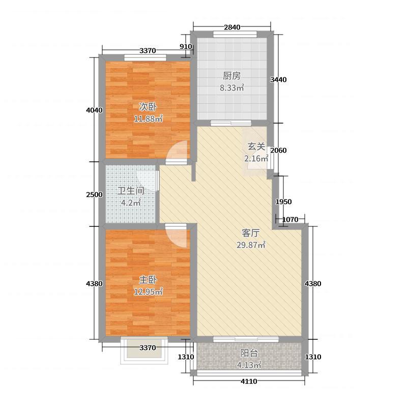 东联・阳光尚城90.08㎡G户型2室2厅1卫1厨