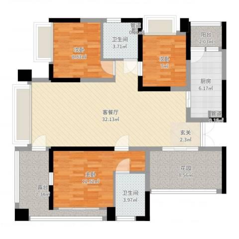 华侨新村(南山)3室2厅2卫1厨116.00㎡户型图