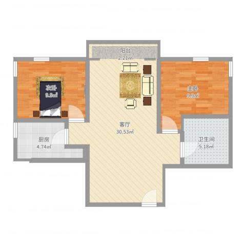 富力千禧花园2室1厅1卫1厨75.00㎡户型图