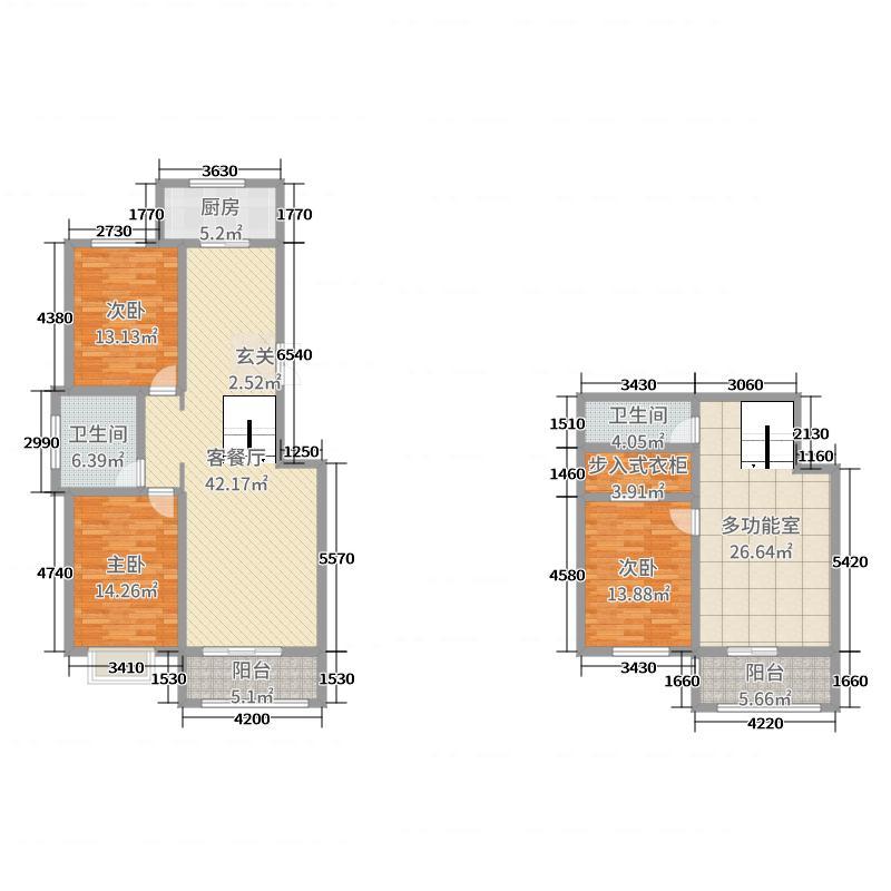丽城佳苑184.00㎡J1-4-1户型3室3厅2卫1厨
