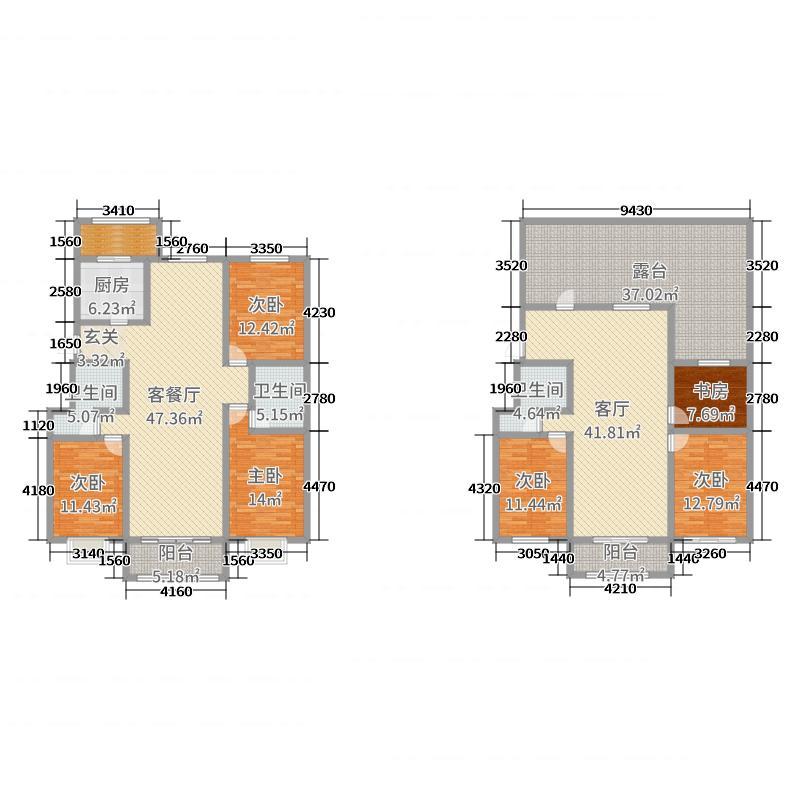丽城佳苑289.00㎡G1-2-2户型6室6厅3卫