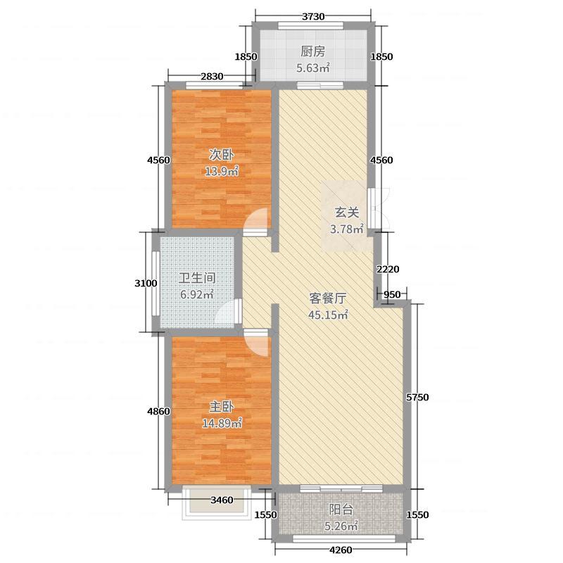 丽城佳苑118.00㎡C2-4-1户型2室2厅1卫1厨