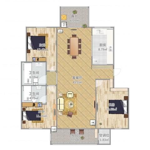 观澜云庭3室2厅2卫1厨147.00㎡户型图