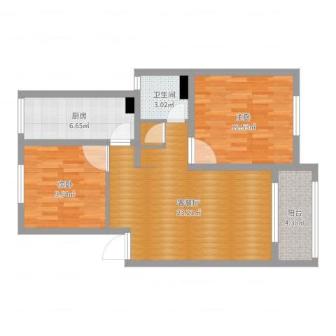 丽水湾112#3012室2厅1卫1厨75.00㎡户型图