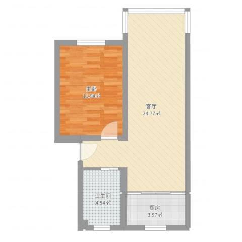 东浜新苑19幢一层1室1厅1卫1厨57.00㎡户型图
