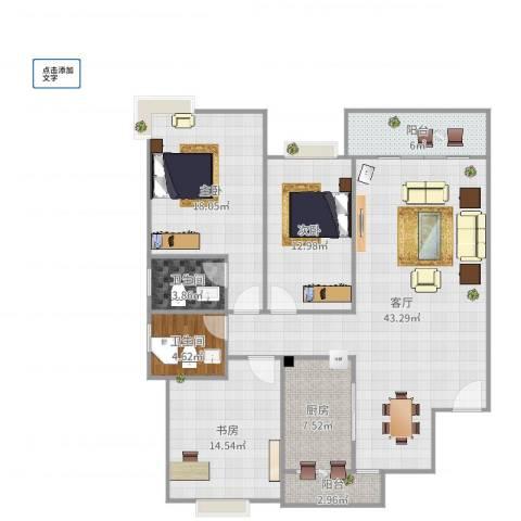 杨柳国际新城3室1厅2卫1厨142.00㎡户型图