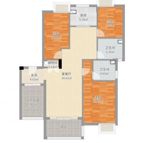 黄山雨润星雨华府3室2厅2卫1厨125.00㎡户型图