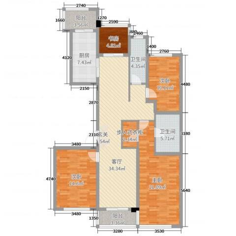 翠屏诚园4室1厅2卫1厨143.00㎡户型图
