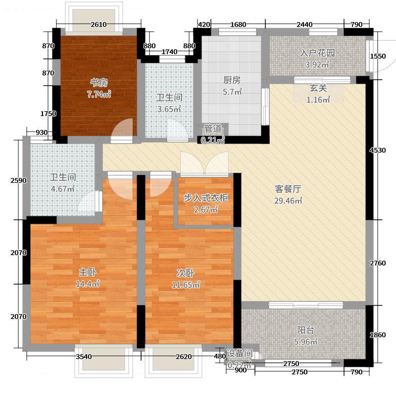 百兴华府137.00㎡二期6-7#标准层A户型3室3厅2卫1厨