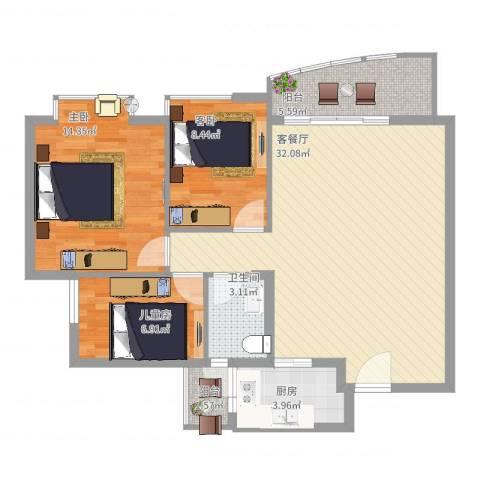 碧湖花园别墅3室2厅1卫1厨106.00㎡户型图