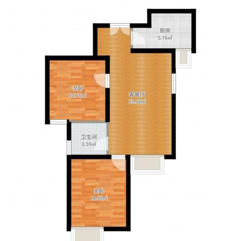 京贸国际城2室2厅1卫1厨69.00㎡户型图