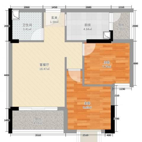 东江学府2室2厅1卫1厨74.00㎡户型图