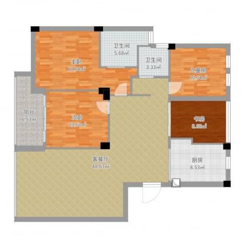 风格城事4室2厅2卫1厨155.00㎡户型图