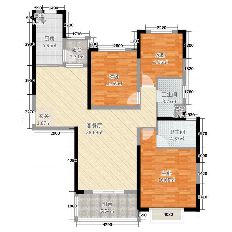 武汉恒大御府125.00㎡2号楼户型3室3厅2卫1厨