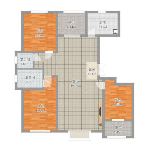 明潭府3室1厅2卫1厨144.00㎡户型图