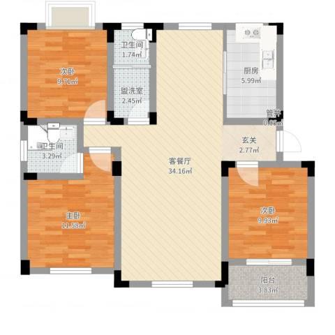 御水天成3室2厅2卫1厨103.00㎡户型图