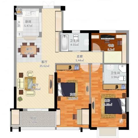 佳源广场3室1厅2卫1厨123.00㎡户型图