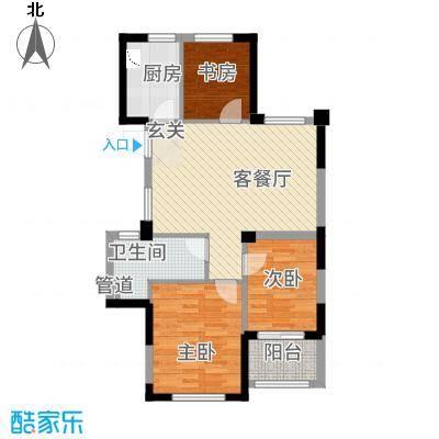 滨江城市之星88.20㎡c户型3室2厅1卫1厨