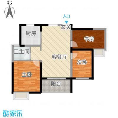 仙林悦城115.20㎡10、15幢标准层户型3室2厅1卫1厨