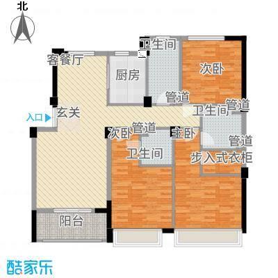 滨江城市之星153.20㎡j户型3室2厅3卫1厨