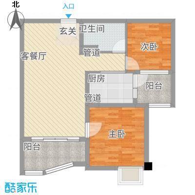 东台碧桂园一期精装洋房J475-B户型2室2厅1卫1厨-副本