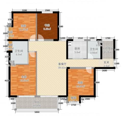 山水湖滨花园二期4室2厅2卫1厨142.00㎡户型图