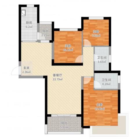 恒大绿洲3室2厅2卫1厨112.00㎡户型图