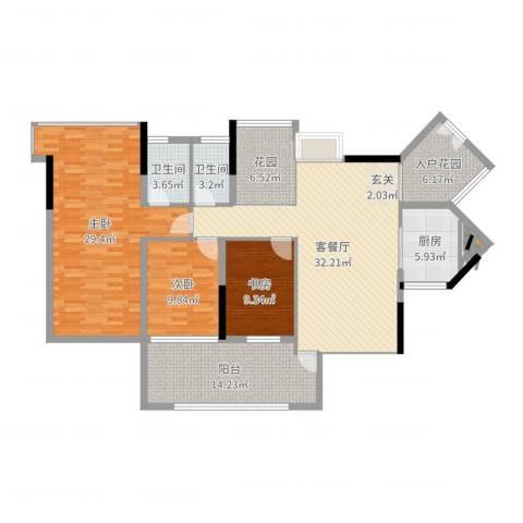 阳光时代3室2厅2卫1厨151.00㎡户型图